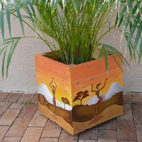 hand-painted planter on casters